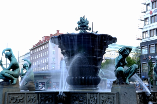 Fountain in Järntorget square