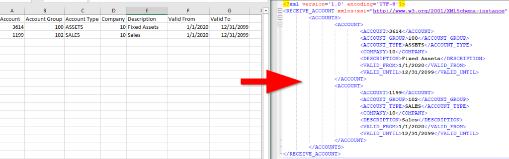 Source CSV and resultant XML using IFS Java Transformer