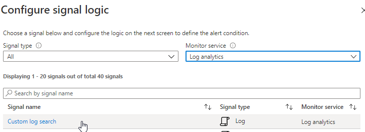 Azure alert - configure log signal