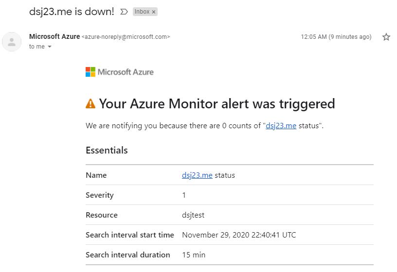 Azure alert email