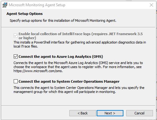 Microsoft Monitoring agent setup
